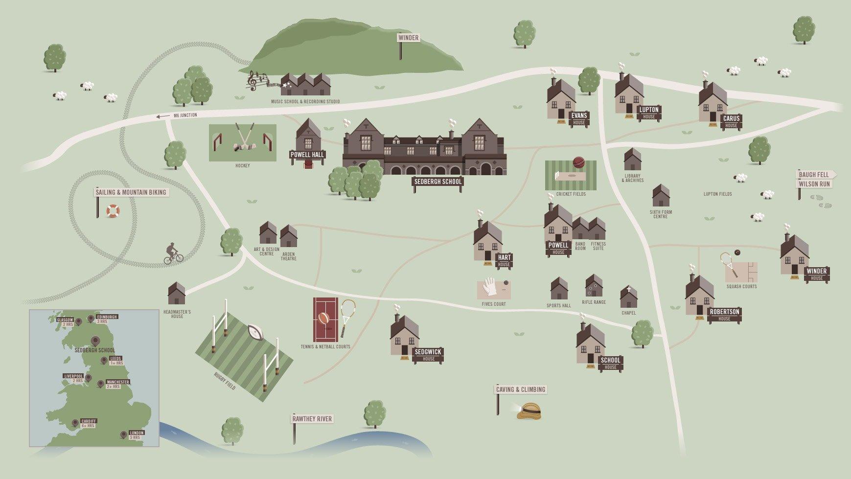 Sedbergh Senior School - Map