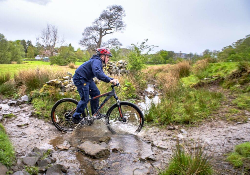 Mountain biking through the puddles