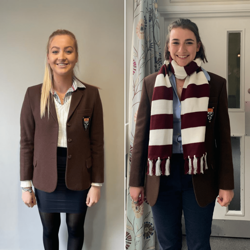 Amelia and Ella are pictured smiling, wearing their brown blazers.